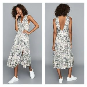 New! REISS Marcy Paisley Pleated Open Back Dress